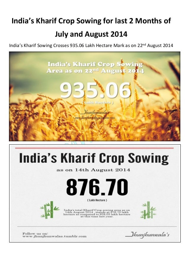 India's Kharif Crop Sowing for last 2 Months of July and August 2014 India's Kharif Sowing Crosses 935.06 Lakh Hectare Mar...