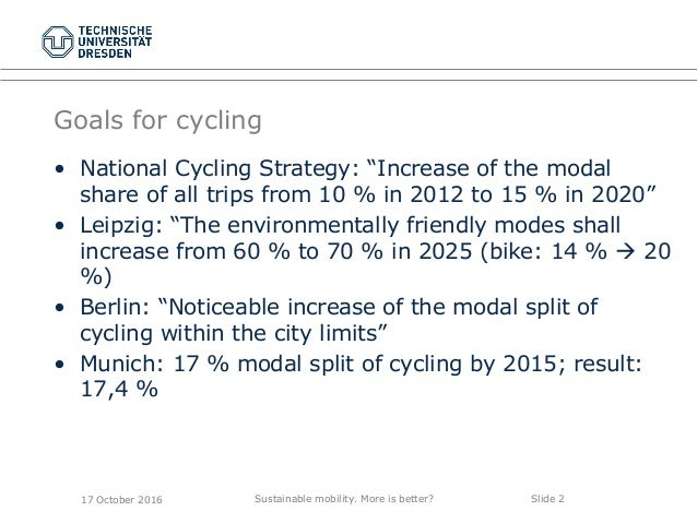 """Sustainable mobility. More is better? Slide 2 Goals for cycling • National Cycling Strategy: """"Increase of the modal share ..."""