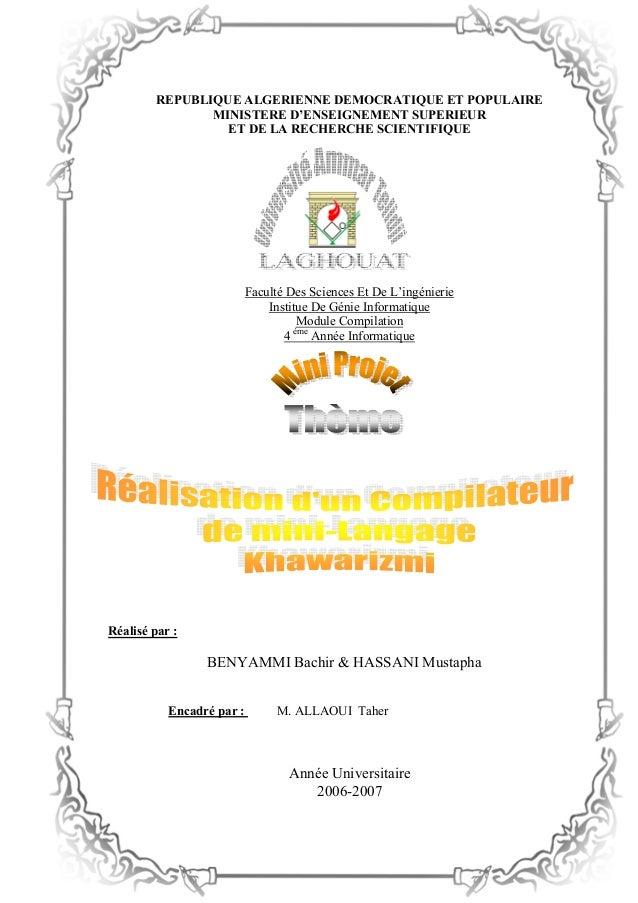 REPUBLIQUE ALGERIENNE DEMOCRATIQUE ET POPULAIRE MINISTERE D'ENSEIGNEMENT SUPERIEUR ET DE LA RECHERCHE SCIENTIFIQUE Faculté...