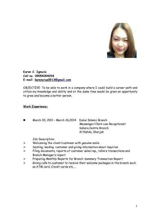 Khaye Cv 2014 Updated. 1 Karen C. Ignacio Cell No. 09054004298 E Mail:  Karencruz0913@gmail ...  Updated Resume Samples