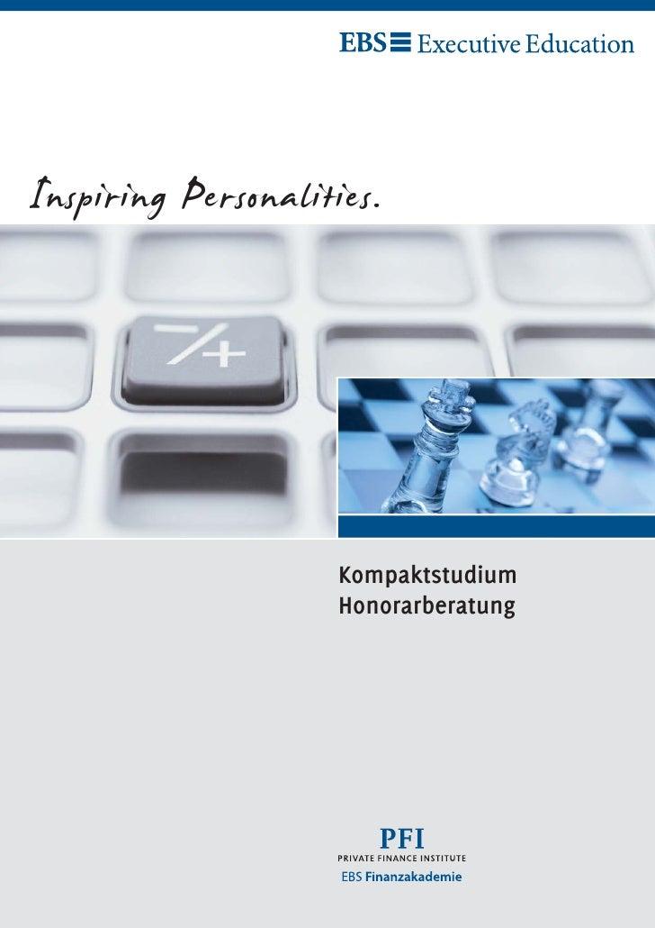 Inspiring Personalities.                     Kompaktstudium                     Honorarberatung