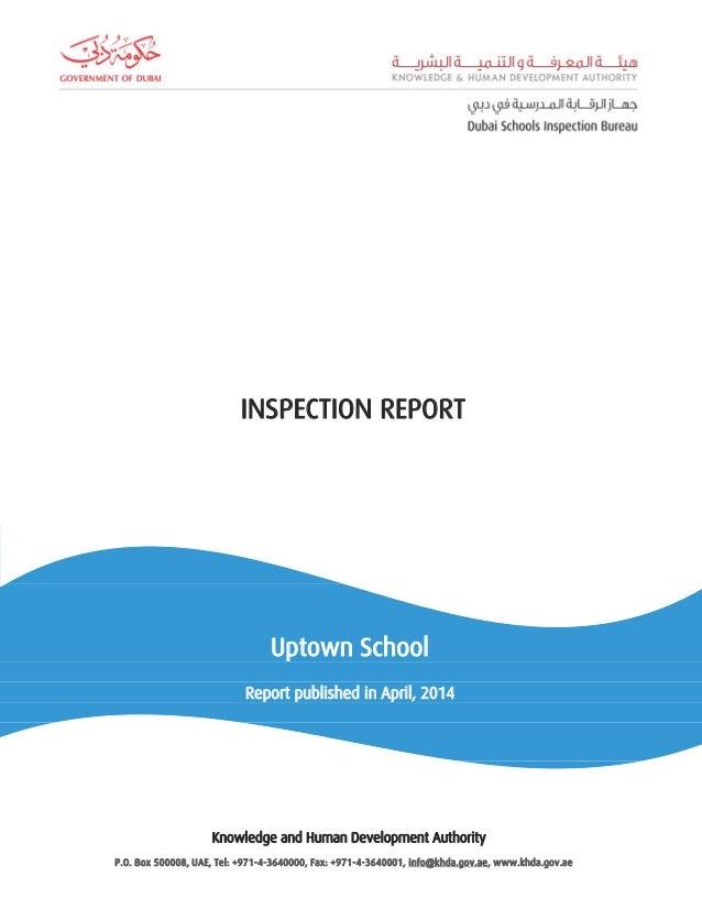 self evaluation form khda  KHDA Inspection Report - Uptown School