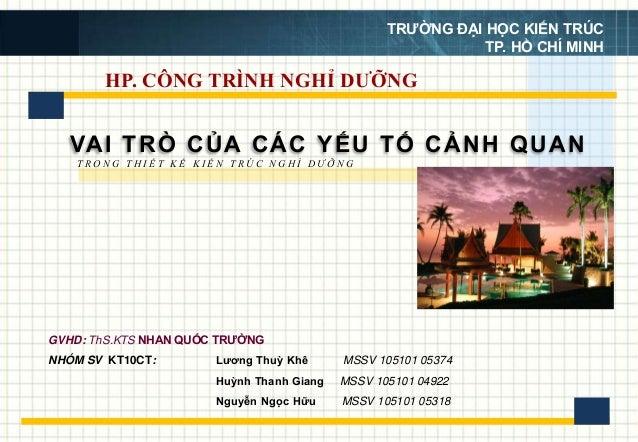 HP. CÔNG TRÌNH NGHỈ DƯỠNG VAI TRÒ CỦA CÁC YẾU TỐ CẢNH QUAN Lương Thuỳ Khê MSSV 105101 05374 Huỳnh Thanh Giang MSSV 105101 ...
