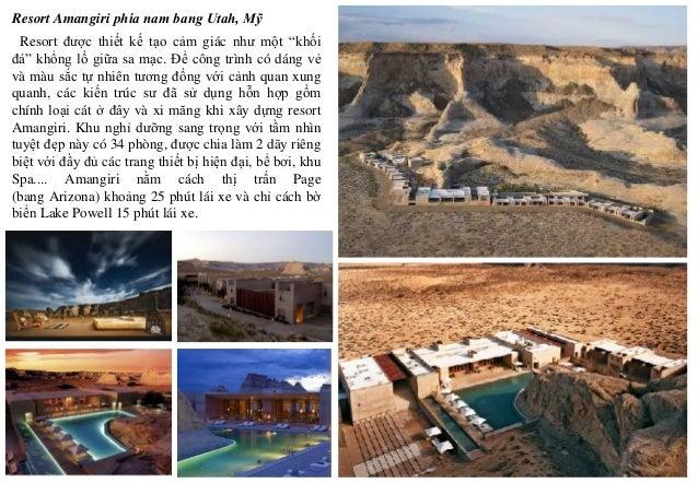 """Resort được thiết kế tạo cảm giác như một """"khối đá"""" khổng lồ giữa sa mạc. Để công trình có dáng vẻ và màu sắc tự nhiên tươ..."""