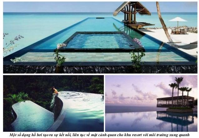Một số dạng hồ bơi tạo ra sự kết nối, liên tục về mặt cảnh quan cho khu resort với môi trường xung quanh