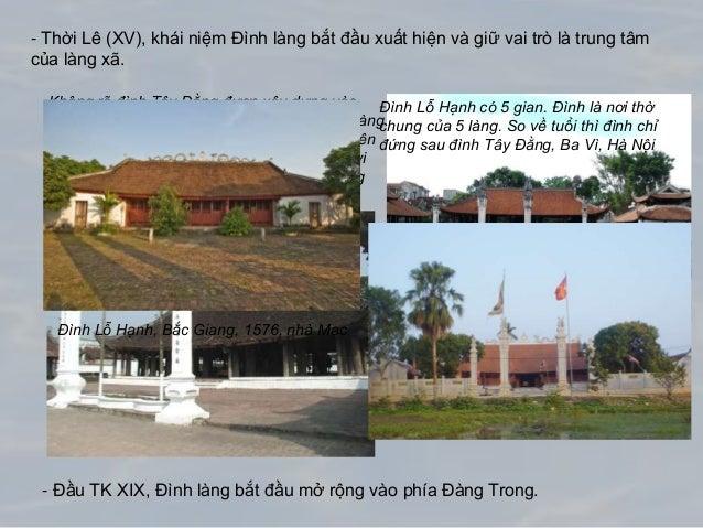 - Thời Lê (XV), khái niệm Đình làng bắt đầu xuất hiện và giữ vai trò là trung tâm của làng xã. - Đầu TK XIX, Đình làng bắt...