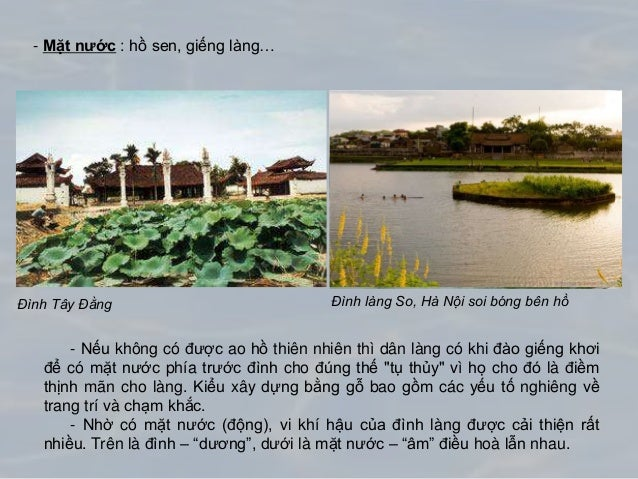 - Mặt nước : hồ sen, giếng làng… - Nếu không có được ao hồ thiên nhiên thì dân làng có khi đào giếng khơi để có mặt nước p...