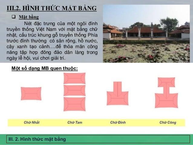 III. 2. Hình thức mặt bằng III.2. HÌNH THỨC MẶT BẰNG Nét đặc trưng của một ngôi đình truyền thống Việt Nam với mặt bằng ch...