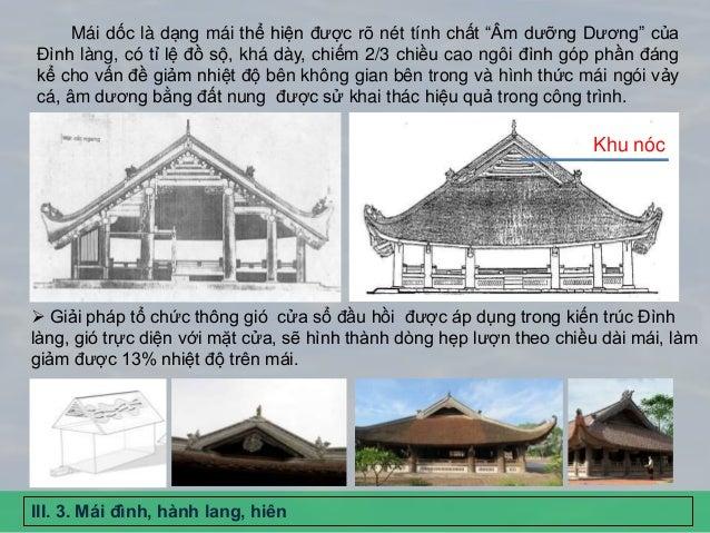 """Mái dốc là dạng mái thể hiện được rõ nét tính chất """"Âm dưỡng Dương"""" của Đình làng, có tỉ lệ đồ sộ, khá dày, chiếm 2/3 chiề..."""