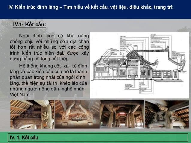 IV. Kiến trúc đình làng – Tìm hiểu về kết cấu, vật liệu, điêu khắc, trang trí: Ngôi đình làng có khả năng chống chịu với n...