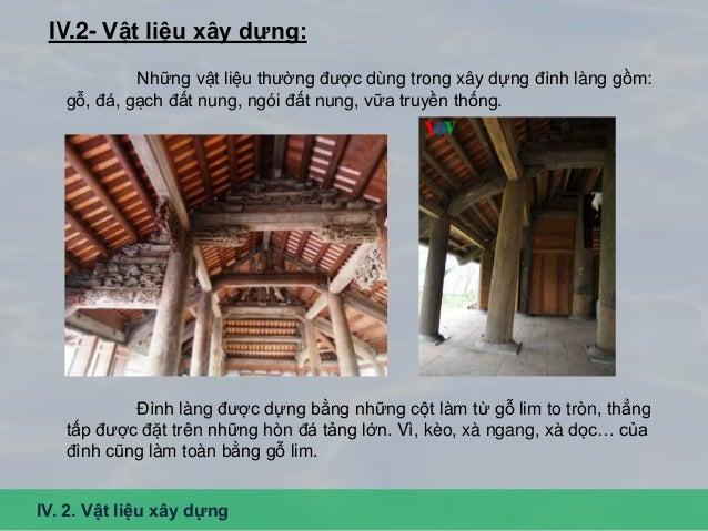 Tường đình được xây bằng gạch đất nung kết hợp với vữa truyền thống rất bền vững. Mái đình được lợp bằng ngói đất nung (ng...