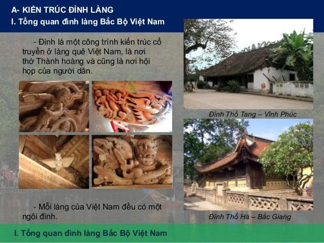 A- KIẾN TRÚC ĐÌNH LÀNG I. Tổng quan đình làng Bắc Bộ Việt Nam - Đình là một công trình kiến trúc cổ truyền ở làng quê Việt...
