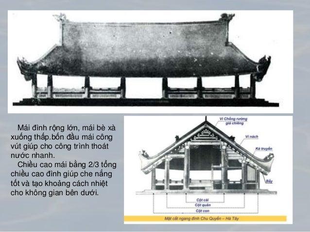 Mái nhà được lợp bằng ngói giúp thoát nước nhanh, Kết cấu mái vững chắc giúp chống gió bão.