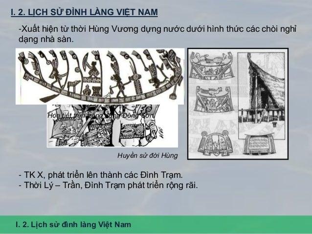 I. 2. LỊCH SỬ ĐÌNH LÀNG VIỆT NAM I. 2. Lịch sử đình làng Việt Nam -Xuất hiện từ thời Hùng Vương dựng nước dưới hình thức c...