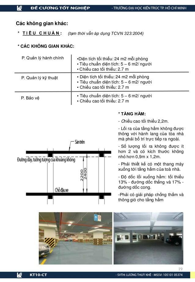 * TẦNG HẦM: - Chiều cao tối thiểu 2,2m. - Lối ra của tầng hầm không được thông với hành lang của tòa nhà mà phải bố trí tr...