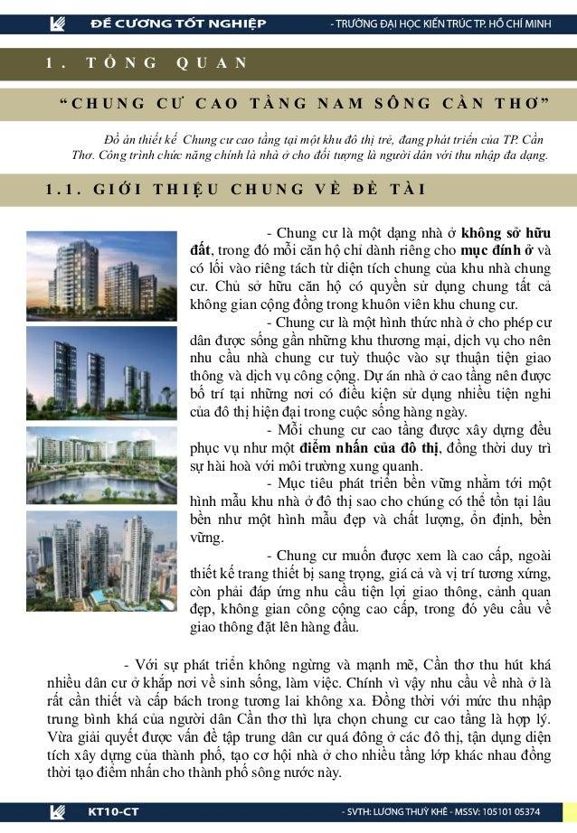 """1 . T Ổ N G Q U A N """" C H U N G C Ư C A O T Ầ N G N A M S Ô N G C Ầ N T H Ơ """" Đồ án thiết kế Chung cư cao tầng tại một khu..."""
