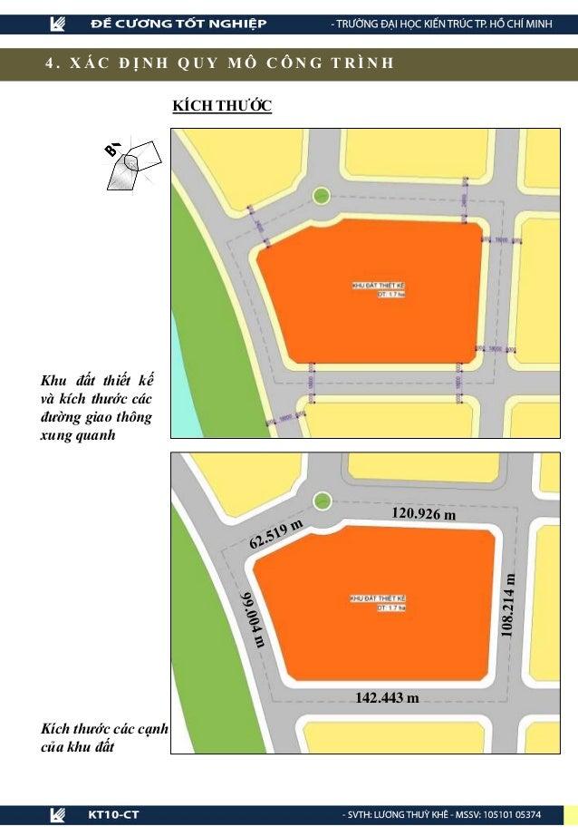 4 . X Á C Đ Ị N H Q U Y M Ô C Ô N G T R Ì N H Khu đất thiết kế và kích thước các đường giao thông xung quanh Kích thước cá...