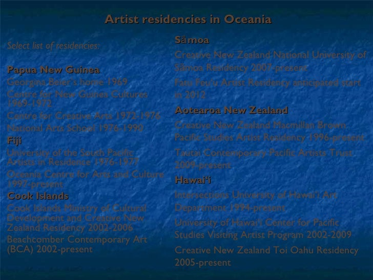 Artist residencies in Oceania Select list of residencies: Papua New Guinea   Georgina Beier's home 1969 Centre for New Gui...