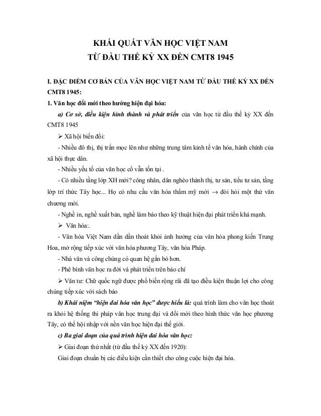 KHÁI QUÁT VĂN HỌC VIỆT NAM                TỪ ĐẦU THẾ KỶ XX ĐẾN CMT8 1945I. ĐẶC ĐIỂM CƠ BẢN CỦA VĂN HỌC VIỆT NAM TỪ ĐẦU THẾ...