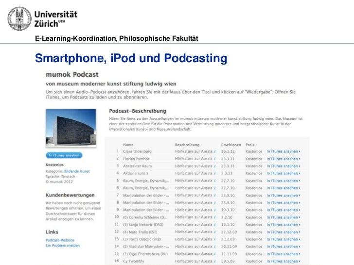 E-Learning-Koordination, Philosophische FakultätSmartphone, iPod und Podcasting