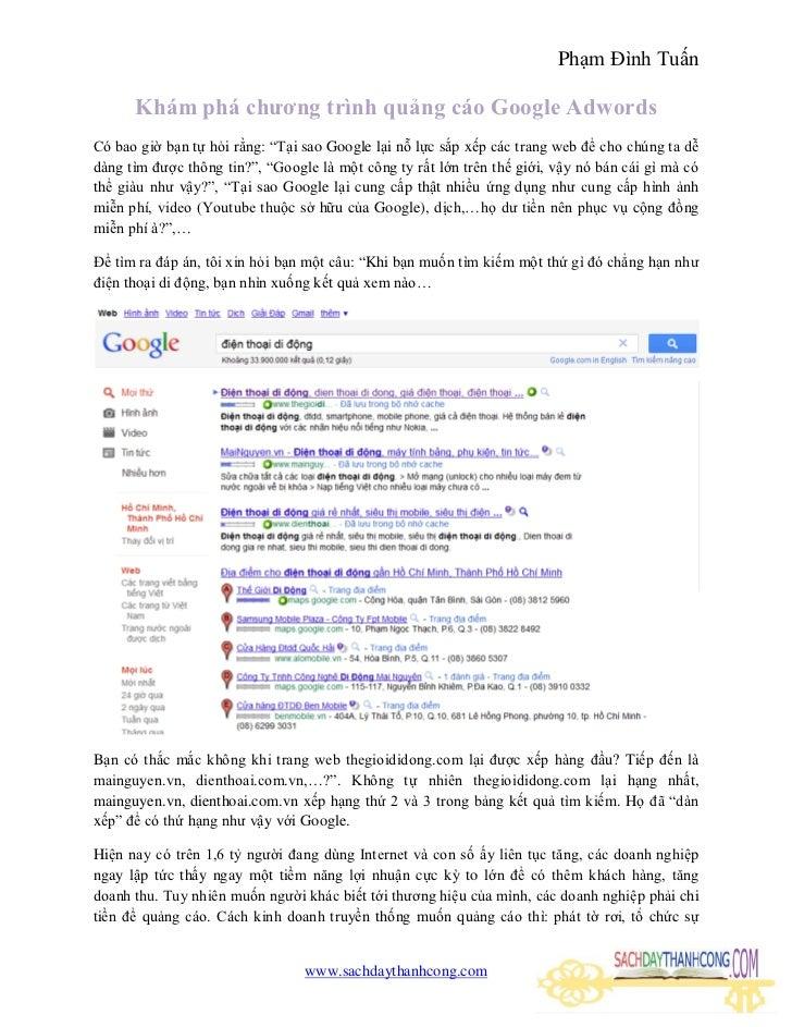 """Phạm Đình Tuấn      Khám phá chương trình quảng cáo Google AdwordsCó bao giờ bạn tự hỏi rằng: """"Tại sao Google lại nỗ lực s..."""