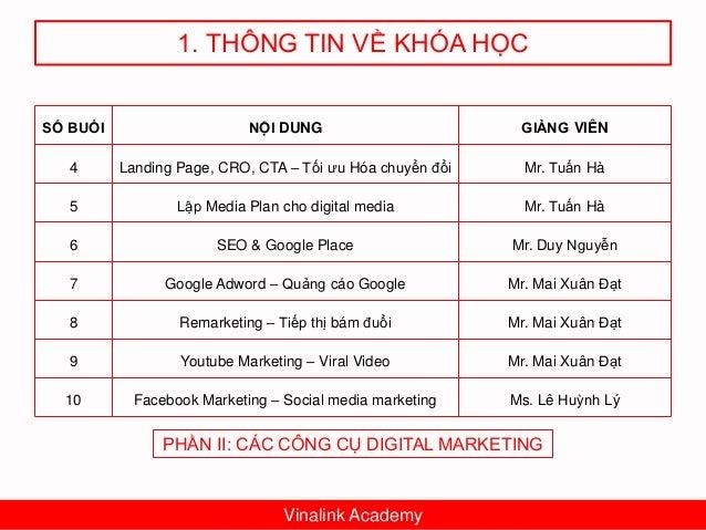 1. THÔNG TIN VỀ KHÓA HỌC Vinalink Academy BÀI TẬP • Bài tập nhỏ: adwords, youtube, seeding… • Bài tập lớn: Lập kế hoạch Di...