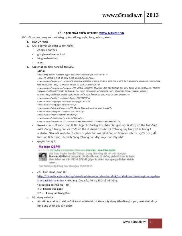 www.p5media.vn 2013 www.p5media.vn 1 KẾ HOẠCH PHÁT TRIỂN WEBSITE: WWW.MENPRO.VN SEO: tối ưu hóa trang web với công ...