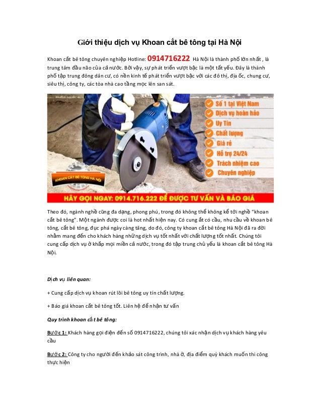 Giới thiệu dịch vụ Khoan cắt bê tông tại Hà Nội Khoan c t bắ ê tông chuyên nghi p Hotline:ệ 0914716222 Hà N i lộ à thành p...