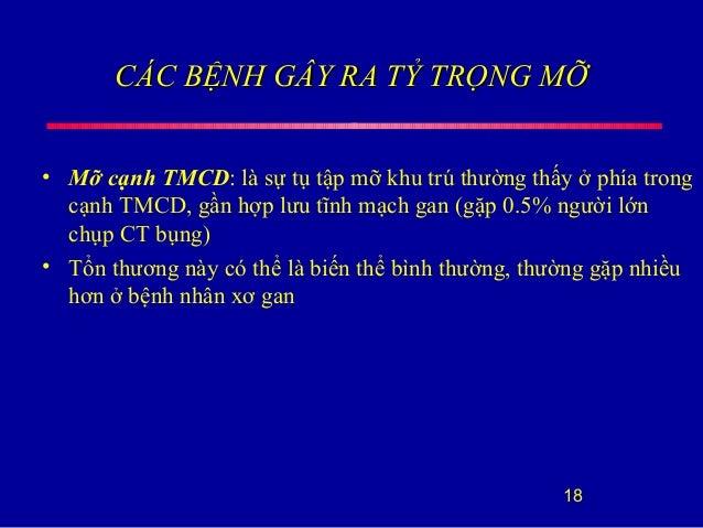 CÁC BỆNH GÂY RA TỶ TRỌNG MỠCÁC BỆNH GÂY RA TỶ TRỌNG MỠ • Mỡ cạnh TMCD: là sự tụ tập mỡ khu trú thường thấy ở phía trong cạ...