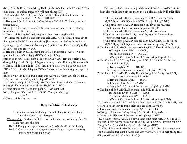 d)Gọi M và N là hai điểm bất kỳ lần lượt nằm trên hai cạnh AB và CD.Tìm       Tiếp tục hai bước trên với mặt khác của hình...