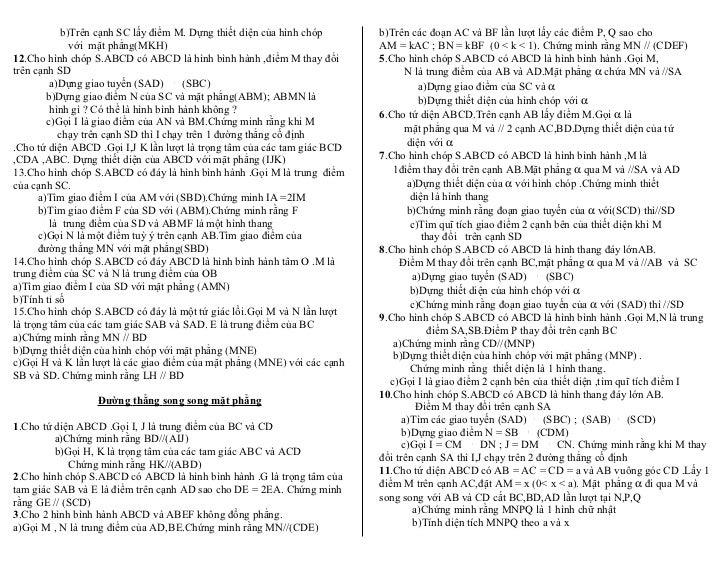 b)Trên cạnh SC lấy điểm M. Dựng thiết diện của hình chóp      b)Trên các đoạn AC và BF lần lượt lấy các điểm P, Q sao cho ...
