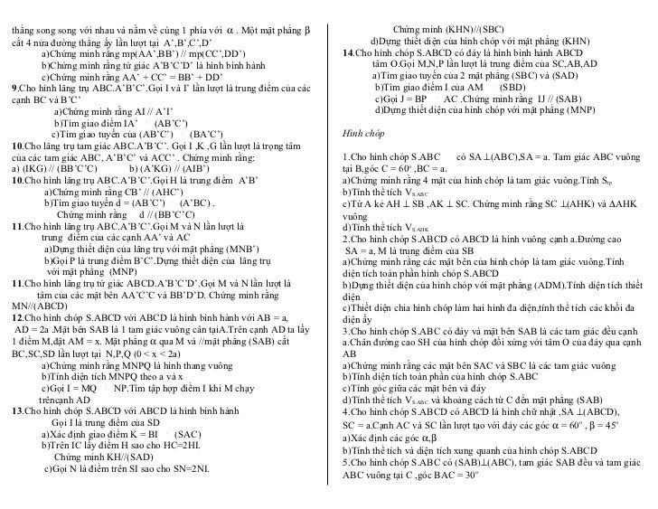 thẳng song song với nhau và nằm về cùng 1 phía với α . Một mặt phẳng β                  Chứng minh (KHN)//(SBC)cắt 4 nửa đ...
