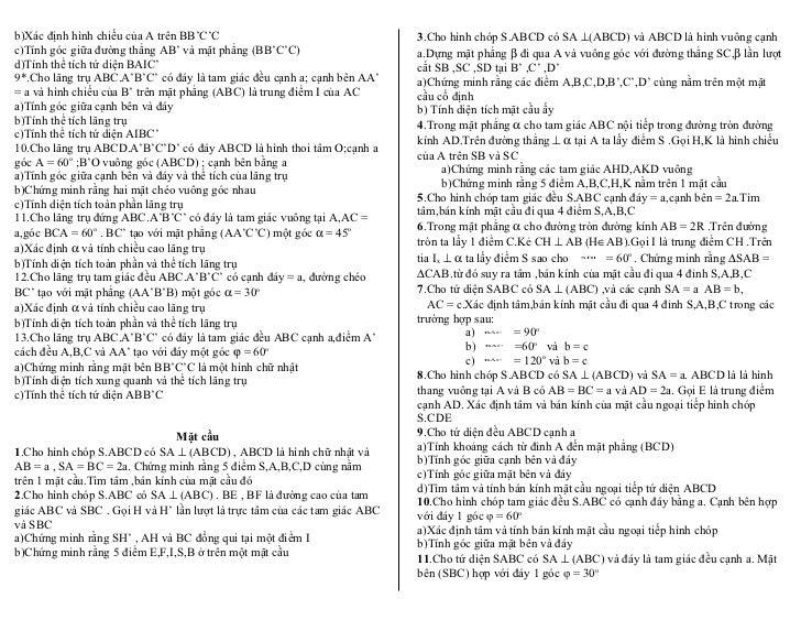 b)Xác định hình chiếu của A trên BB'C'C                                   3.Cho hình chóp S.ABCD có SA ⊥(ABCD) và ABCD là ...