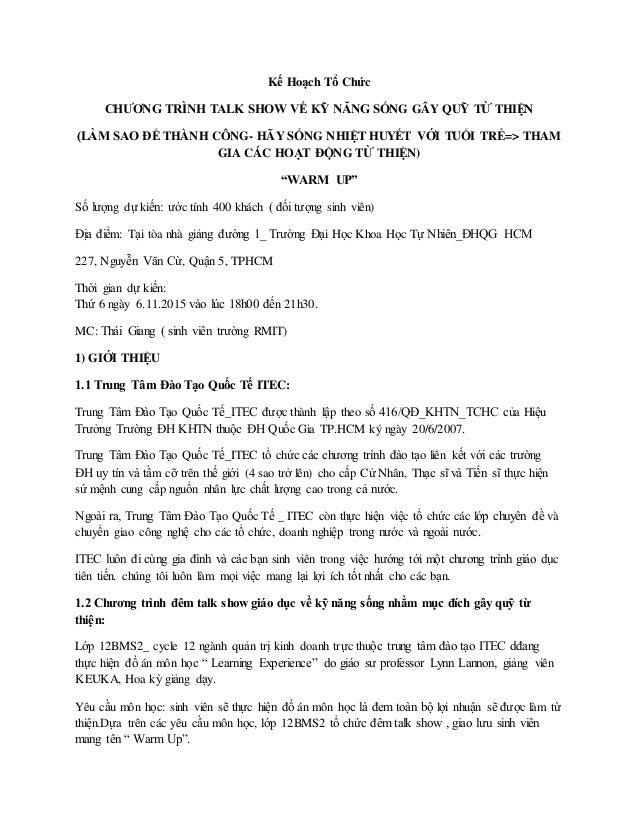 Kế Hoạch Tổ Chức CHƯƠNG TRÌNH TALK SHOW VỀ KỸ NĂNG SỐNG GÂY QUỸ TỪ THIỆN (LÀM SAO ĐỂ THÀNH CÔNG- HÃY SỐNG NHIỆT HUYẾT VỚI ...