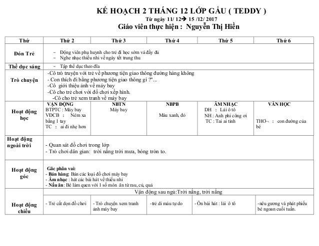 KẾ HOẠCH 2 THÁNG 12 LỚP GẤU ( TEDDY ) Từ ngày 11/ 12à 15 /12/ 2017 Giáo viên thực hiện : Nguyễn Thị Hiền Thứ Thứ 2 Thứ 3 T...
