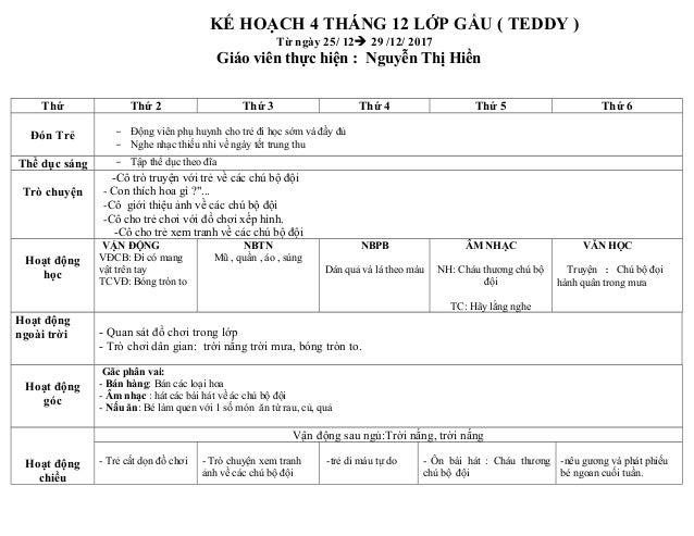 KẾ HOẠCH 4 THÁNG 12 LỚP GẤU ( TEDDY ) Từ ngày 25/ 12à 29 /12/ 2017 Giáo viên thực hiện : Nguyễn Thị Hiền Thứ Thứ 2 Thứ 3 T...