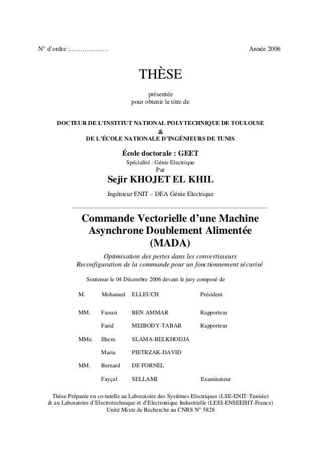 N° d'ordre :……………… Année 2006 THÈSE présentée pour obtenir le titre de DOCTEUR DE L'INSTITUT NATIONAL POLYTECHNIQUE DE TOU...