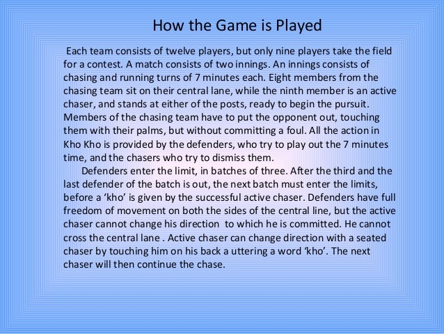 essay my favourite game kho kho Samples of research proposals essay on my favourite game kho kho in hindi essay in english handmade homegrown masters thesis.