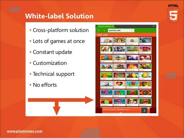 www.playtomax.com White-label Solution • Cross-platform solution • Lots of games at once • Constant update • Customization...