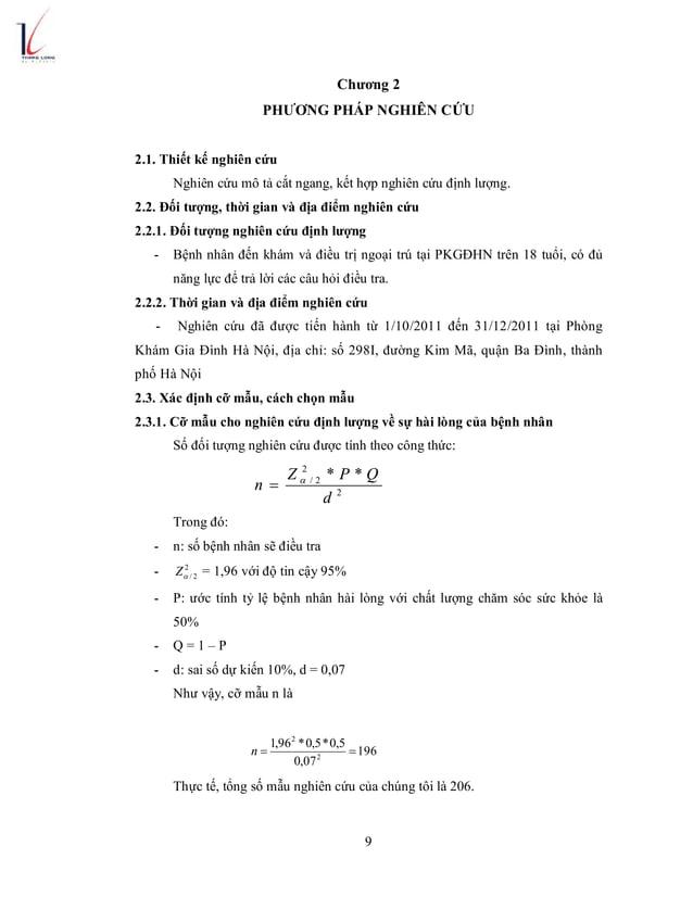 9 Chương 2 PHƯƠNG PHÁP NGHIÊN CỨU 2.1. Thiết kế nghiên cứu Nghiên cứu mô tả cắt ngang, kết hợp nghiên cứu định lượng. 2.2....