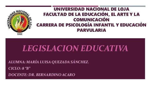 UNIVERSIDAD NACIONAL DE LOJA FACULTAD DE LA EDUCACIÓN, EL ARTE Y LA COMUNICACIÓN CARRERA DE PSICOLOGÍA INFANTIL Y EDUCACIÓ...