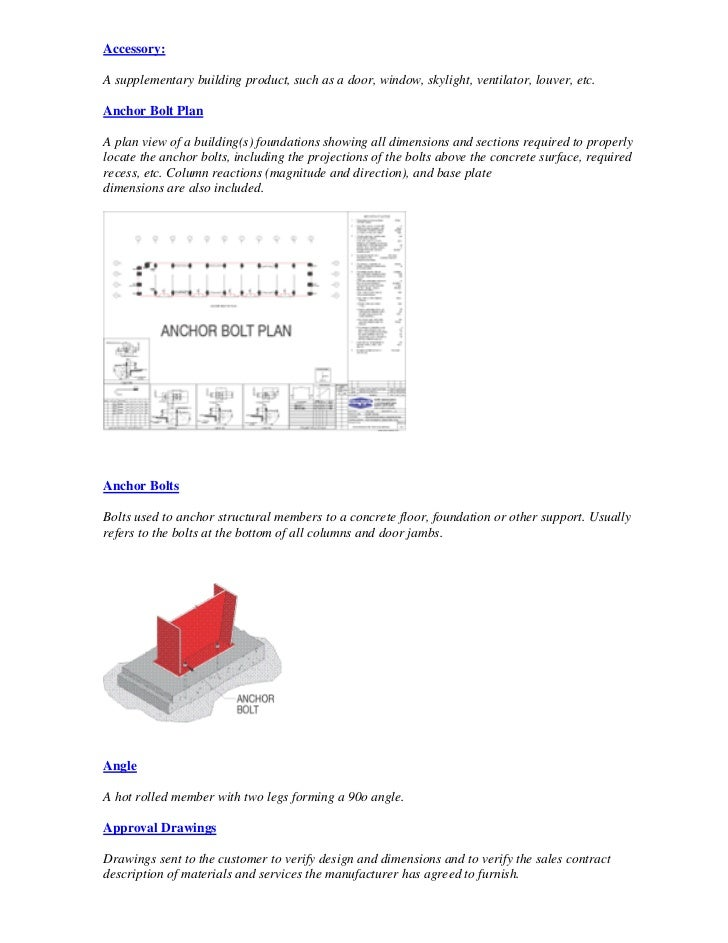 Accessory:  A supplementary building product, such as a door, window, skylight, ventilator, louver, etc.  Anchor Bolt Plan...