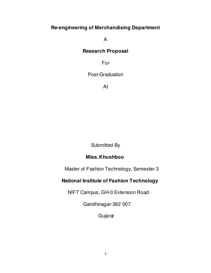 Re-engineering of Merchandising Department                     A            Research Proposal                    For      ...