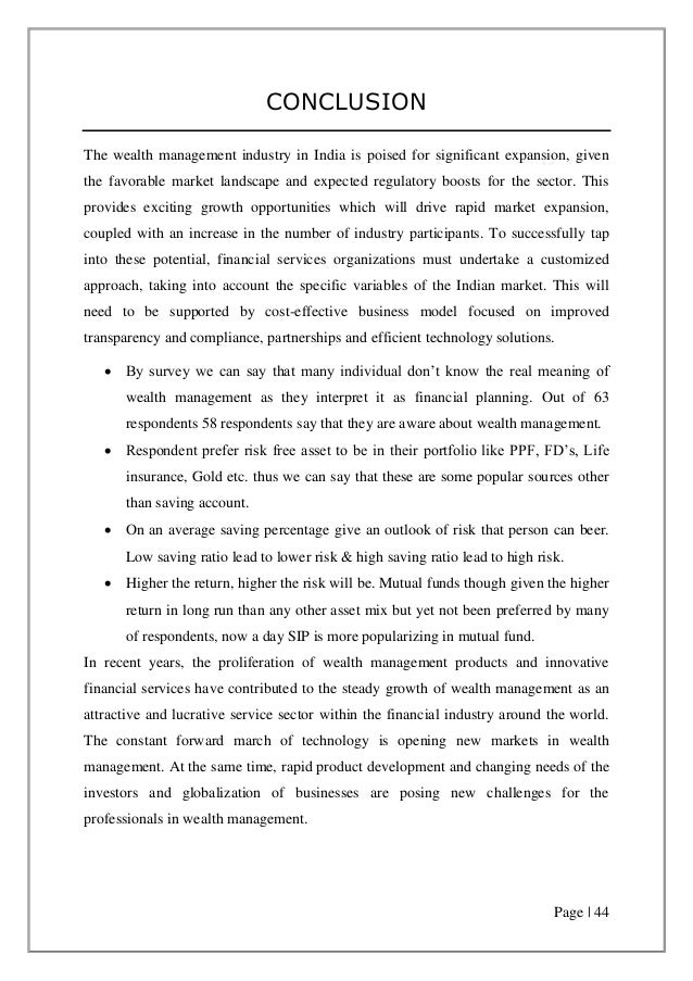 essay on wealth management
