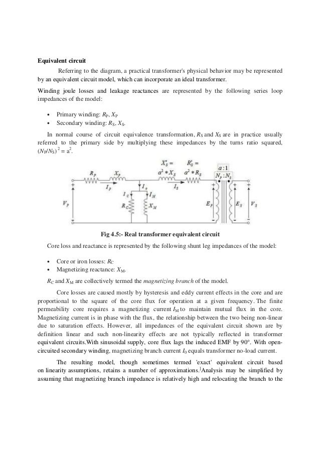 hindustan zinc report 22 equivalent circuit referring to the diagram a practical transformer s physical behavior