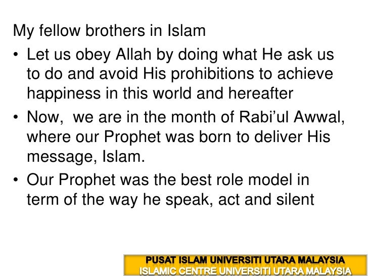 My fellow brothers in Islam <br />Let us obey Allah by doing what He ask us to do and avoid His prohibitions to achieve ha...