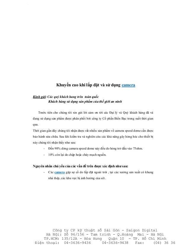 Khuyến cao khi lắp đặt và sử dụng cameraKính gửi: Các quý khách hang trên toàn quốc          Khách hàng sử dụng sản phẩm c...