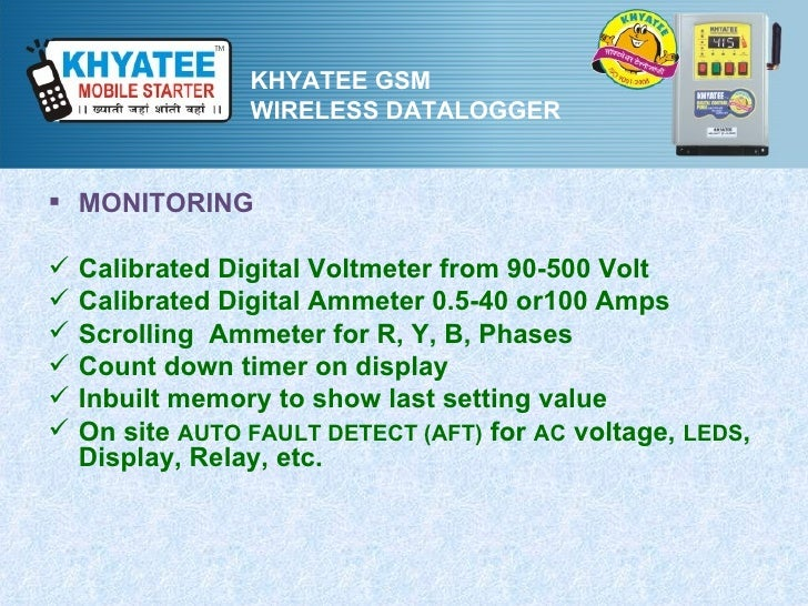 KHYATEE GSM                 WIRELESS DATALOGGER MONITORING   Calibrated Digital Voltmeter from 90-500 Volt   Calibrated...