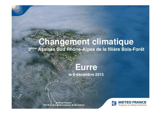 Changement climatique  3ème Assises Sud Rhône-Alpes de la filière Bois-Forêt  Eurre  le 6 décembre 2013  Béatrice Charpiot...