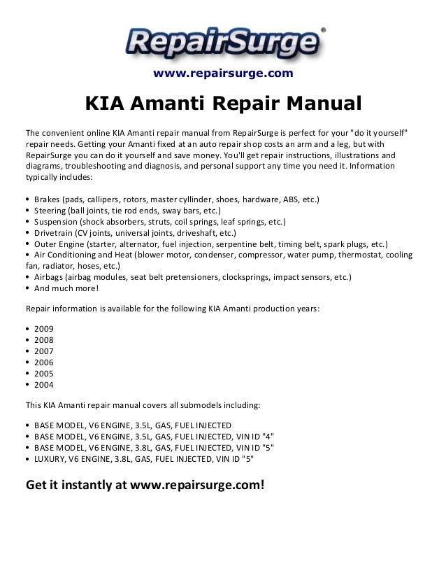 kia amanti repair manual 2004 2009 rh slideshare net Kia Amanti Engine Diagram Kia Amanti Engine Problems